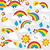 Colorful Foam Fun Rainbow Stickers for Children to Decorate Cards Crafts and Collage (Pack of 120)