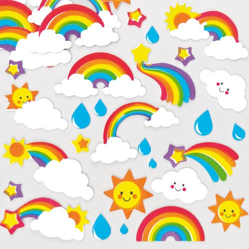 Baker Ross Colorful Foam Fun Rainbow Stickers for Children to Decorate Cards Crafts and Collage (Pack of 120) ()