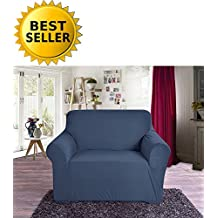 Elegant Comfort Collection Luxury Soft Furniture Jersey STRETCH SLIPCOVER, Chair Navy Blue