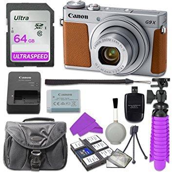 Canon PowerShot G9 X Mark II Digital Camera (Silver) with 64GB SD Memory Card + Accessory Bundle