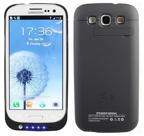 hot sale online c9438 2462d Samsung Galaxy S3 i9300 External (3200 mAh) Battery Power Pack Case (With  Media Kick Stand) (Black) + Free Screen Protector