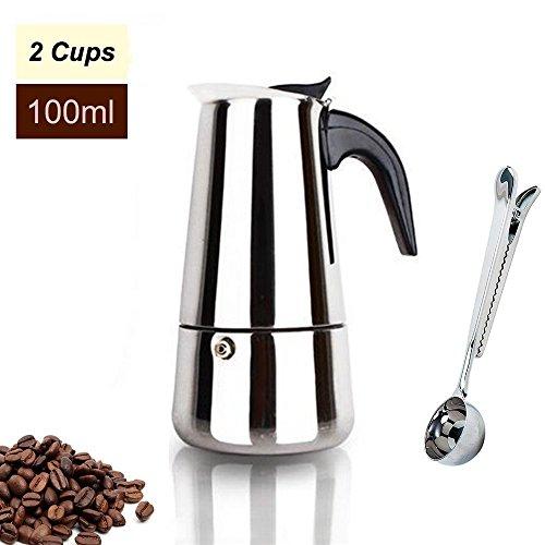 Espresso Maker Stovetop Moka Coffee Pot Stainless Steel Latte Percolator with Bonus Scoop (2 Cups/100 Milliliter) by Espresso Maker (Image #7)