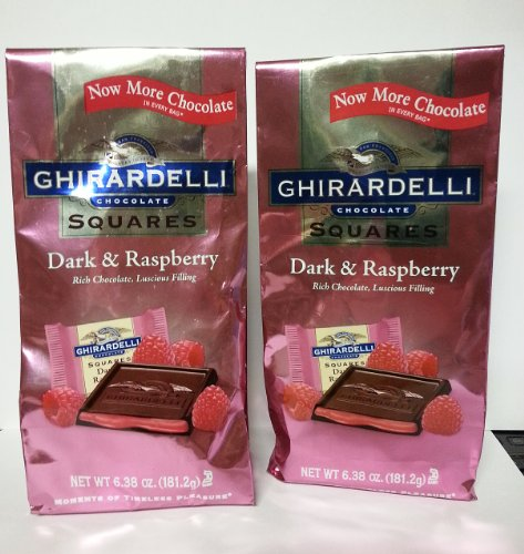 Ghirardelli Dark Chocolate Candy Squares with Raspberry Filling 6.38 Oz. (Pack of 2)