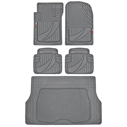 FlexTough Advanced Performance Liners - 5pc HD Rubber Floor Mats & Cargo Liner for Car SUV Auto (Gray) (Nissan Versa 2011 Cargo Cover)