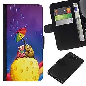 """Be-Star la tarjeta de Cr¨¦dito Slots PU Funda de cuero Monedero caso cubierta de piel Para Samsung ALPHA G850 ( Queso colorido paraguas del arco iris del arte del amor"""" )"""