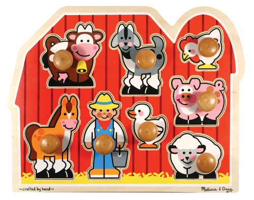 Melissa & Doug Farm Animals Jumbo Knob Wooden Puzzle (Kids Puzzles With Knobs)