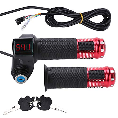 (VGEBY Bike Throttle Grip Electric Scooter Battery Voltage with LED Display and Power Key Locker Accelerator (Color : Red))