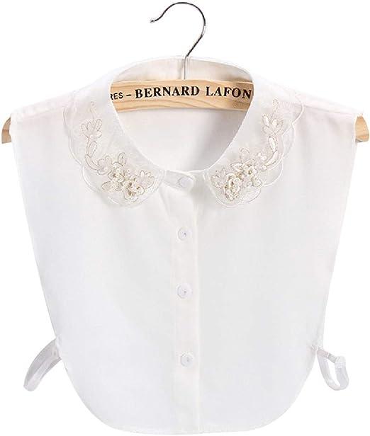 Cuello falso para mujer, con bordado dorado floral y media camisa de perlas sintéticas, cuello falso: Amazon.es: Hogar