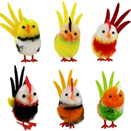 Athoinsu Colorful Easter Chenille Chicks Fluffy Soft Plush Toys Set Spring Egg Bonnet Decorations Kids Gifts Pack of 6, 2 Inches (Style 2)