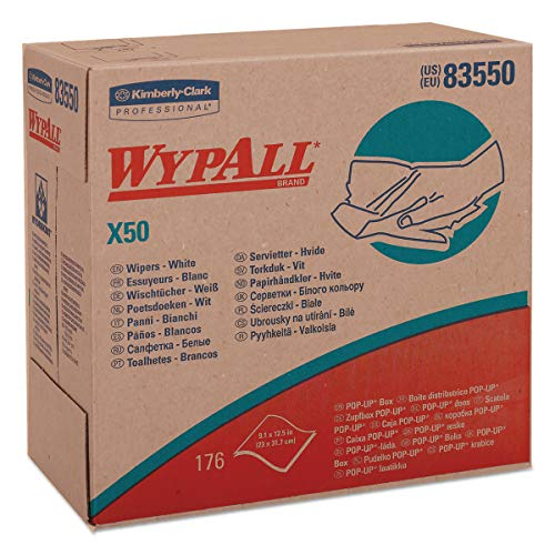 WypAll 83550 X50 Cloths, POP-UP Box, 9 1/10 x 12 1/2, White, 176 per Box (Case of 10 Boxes)