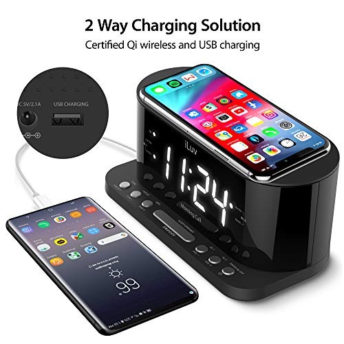 iLuv Wireless Charging Alarm Clock with Qi Certified, 1.2 Jumbo LED Dual alarm Clock , Radio Alarm Clock, FM 10 Preset, USB Charging Alarm Clock, Sleep Timer, 3 Dimmer,100 -240V AC Power