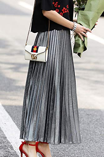 Jupes Haute Maxi Jupe Plisse Paillettes Argent Taille Femmes yulinge xw4qP07IA7