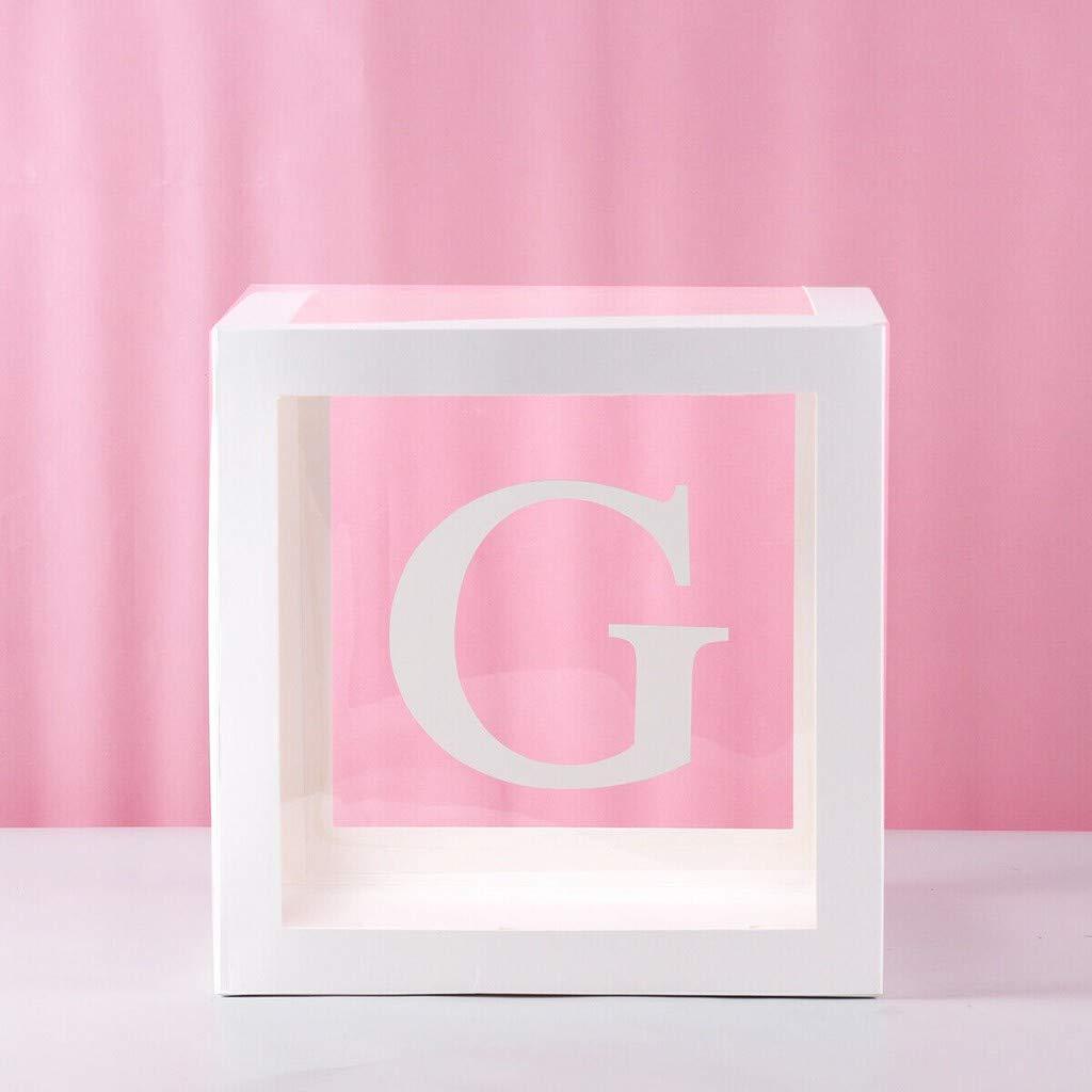 TWISFER Aufbewahrungsbox Transparenter Buchstabe Quadratische Babyparty-Ballonbox Buchstabe A-Z Transparente Geschenkboxen Baby Partydekoration Geburtstagsfeierdekoration