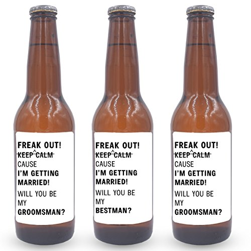 (Freak Out! Cause I am Getting Married!, Will you be My Bestman, Will you be My Groomsmen Mini Wine Bottle Label Stickers | Groomsman Proposal Set, Wedding Invitation Party Gifts, set of 10)