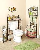 5 Pcs Bronze Owl Bathroom Collection Set Wall Art Toilet Tissue Holder & More Bath