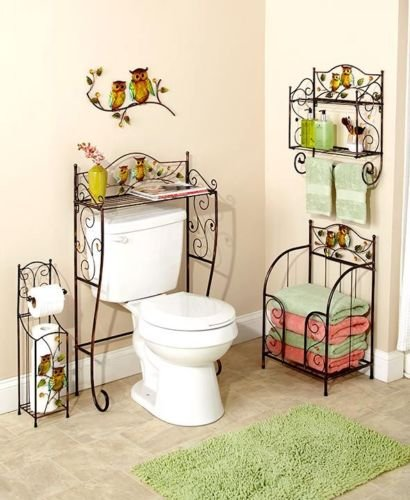 5 Pcs Bronze Owl Bathroom Collection Set Wall Art Toilet Tissue Holder & More Bath by Moon_Daughter