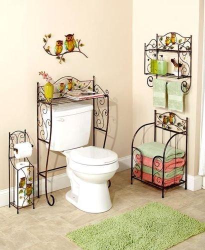 5 Pcs Bronze Owl Bathroom Collection Set Wall Art Toilet Tissue Holder & More - Roll Toilet Moon Holder