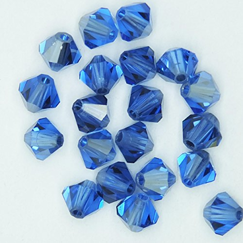 (Sapphire Satin Blue 4mm Swarovski Crystal Beads. Bicone. Made in Austria. Pack of 20)