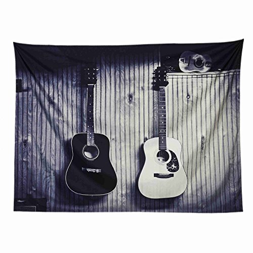 (LOUHO Wall Decor Tapestry PinsPrint Wall Hanging Tapestry Galaxy Hipster Black and White Guitar Polyester Fabric Wall Art Tapestries for Home Decor (79