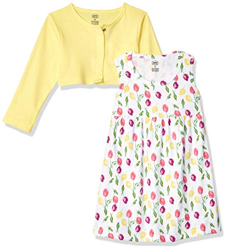 Luvable Friends Baby Girls Dress and Cardigan Set, Tulips 2 Piece, 4T ()