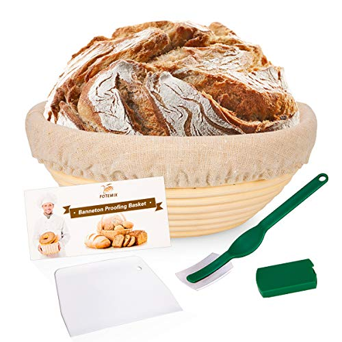 (Round Bread Proofing Basket 8.5inch Banneton Proving Basket Natural Rattan Sourdough Proving Basket for Professional Home Bakers (with Cloth Liner, Dough Scraper, Bread Lame, Starter Recipe Set))