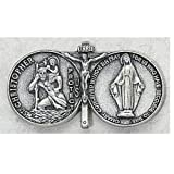 St Christopher Medal Pendant Miraculous Medal, Immaculate Conception Saint Mary Visor Clip