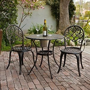 cast aluminum outdoor bistro furniture set with ice bucket amazon