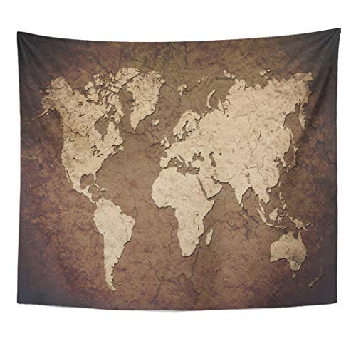 (Emvency Decor Wall Tapestry America Vintage World Map Wall North Old Parchment Africa Aged Wall Hanging Picnic for Bedroom Living Room Dorm 60x50 Inches)