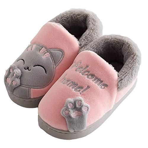 Zapatillas Casa Niños Niñas para Invierno Estar Slippers Casa Interior Caliente Pantuflas Suave Algodón Zapatos Mujer…