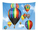 Lunarable Colorful Tapestry King Size, Hot Air Balloons Flying in The Sky Air Sports Adventure Journey Fun Entertainment, Wall Hanging Bedspread Bed Cover Wall Decor, 104' X 88', Sky Blue