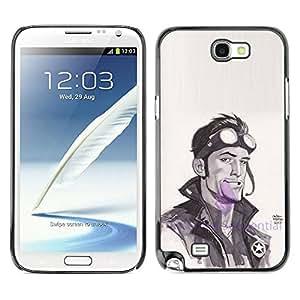 PC/Aluminum Funda Carcasa protectora para Samsung Note 2 N7100 cool pilot biker watercolor actor man / JUSTGO PHONE PROTECTOR