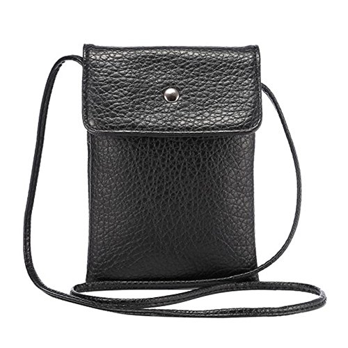 Small Crossbody Bag PU Leather Wallet Purse Cellphone Pouch with Shoulder Strap for Women Girls Fit iPhone X 8 7 Plus 6S/6 5S 5C Samsung Galaxy S8+ S7 S6 Edge S5 Style2-Black