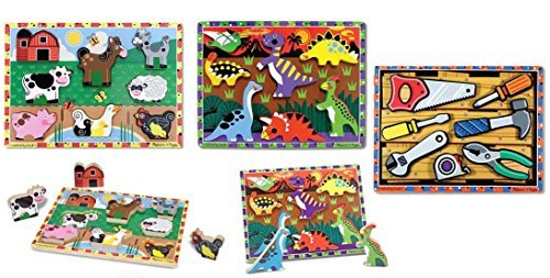 Melissa and Doug Chunky Puzzle Bundle Set / 1 - Dinosaurs 1 - Tools and 1 - Construction by Melissa & Doug