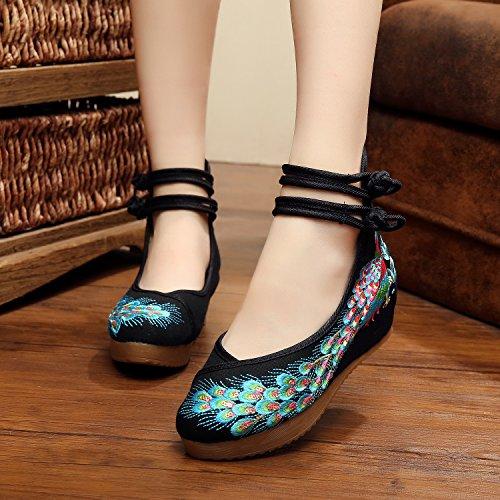 moda Chnuo tendine etnico ricamate Ballerine aumento donna scarpe casual Scarpe stile biancheria del comodo femminili suola black scarpe 6rqw86