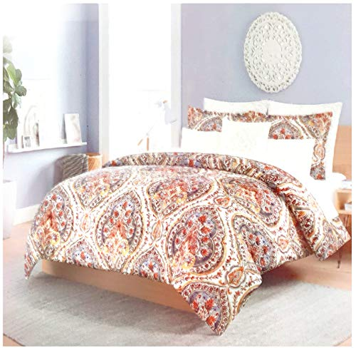 (Cynthia Rowley 3pc Full Queen Cotton Duvet Cover Set Paisley Moroccan Medallion Coral Red Blue Taupe (Queen,)