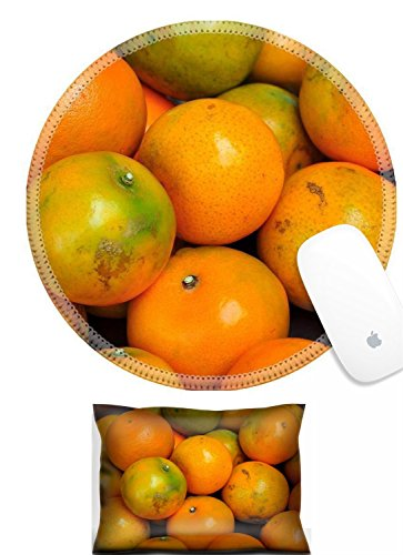 Luxlady Mouse Wrist Rest and Round Mousepad Set, 2pc Wrist Support Orange is a fruit that many people know very well the has high vitamin C content IMAGE: 26052715