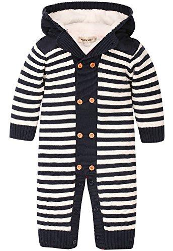 Double Breasted Velvet Costumes (ZOEREA Kids Costume Sweaters Velvet Knitted Hooded Striped Dark Blue Lable 90)