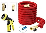IBeaty 100ft Expanding Hose, Upgraded Strongest Expandable Garden Hose Double Latex Core Extra Strength Fabric and Solid Brass Connector with 9-Pattern Spray Nozzle (100FT, Red)