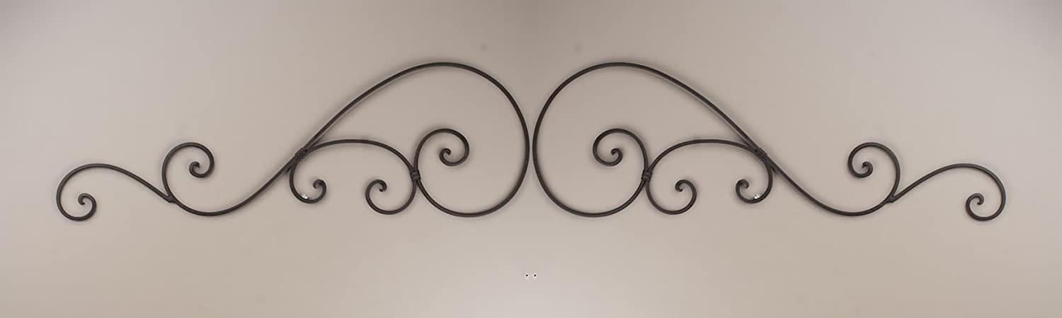 """Wrought Iron Metal Wall Decor Door Topper Grille 60"""" Wide."""