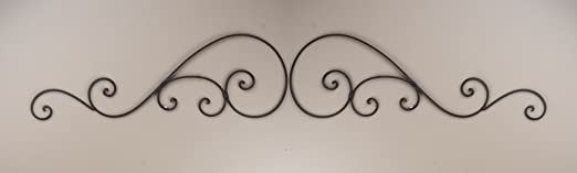 Wrought Iron Wall Decor Door Topper Scroll Brown Large T