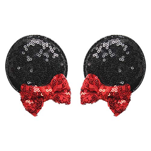 YanJie Sequin Mouse Ears Clips, Glitter Hair Accessories Party Favor Decoration for Children & Adults -