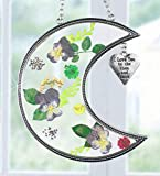 Tiffany Lamp & Gift Factory I Love You to the Moon and Back Suncatcher with Real Pressed Flowers in Glass and Silver Metal Heart Shaped Charm - Gift for Your Loved One