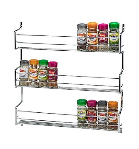 CKB Ltd 3-Tier Spice Rack Metal Wall mounted - Holds 30 Jars - Chrome TRIPLE Shelf Wall Cupboard Door Mounted Storage Stand Kitchen Cooking Universal Organizer 45 x 7 x 46cm