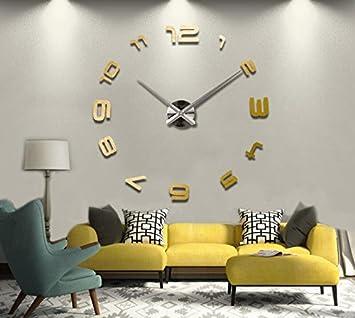 Cunclock Kreative Acryl Spiegel Diy Spiegel Wanduhr Wanduhr Wohnzimmer  Dekoration, Golden