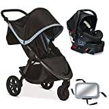 Britax B-Free B-Safe 35 Infant Baby Stroller Travel System - Frost Midnight with Back Seat Mirror
