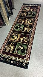 Rooster Style Runner Area Rug Lodge L-379 (2 feet 2 inch X 7 feet 2inches)