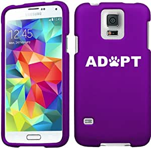 Samsung Galaxy S5 Snap On 2 Piece Rubber Hard Case Cover Adopt Paw Print (Purple)