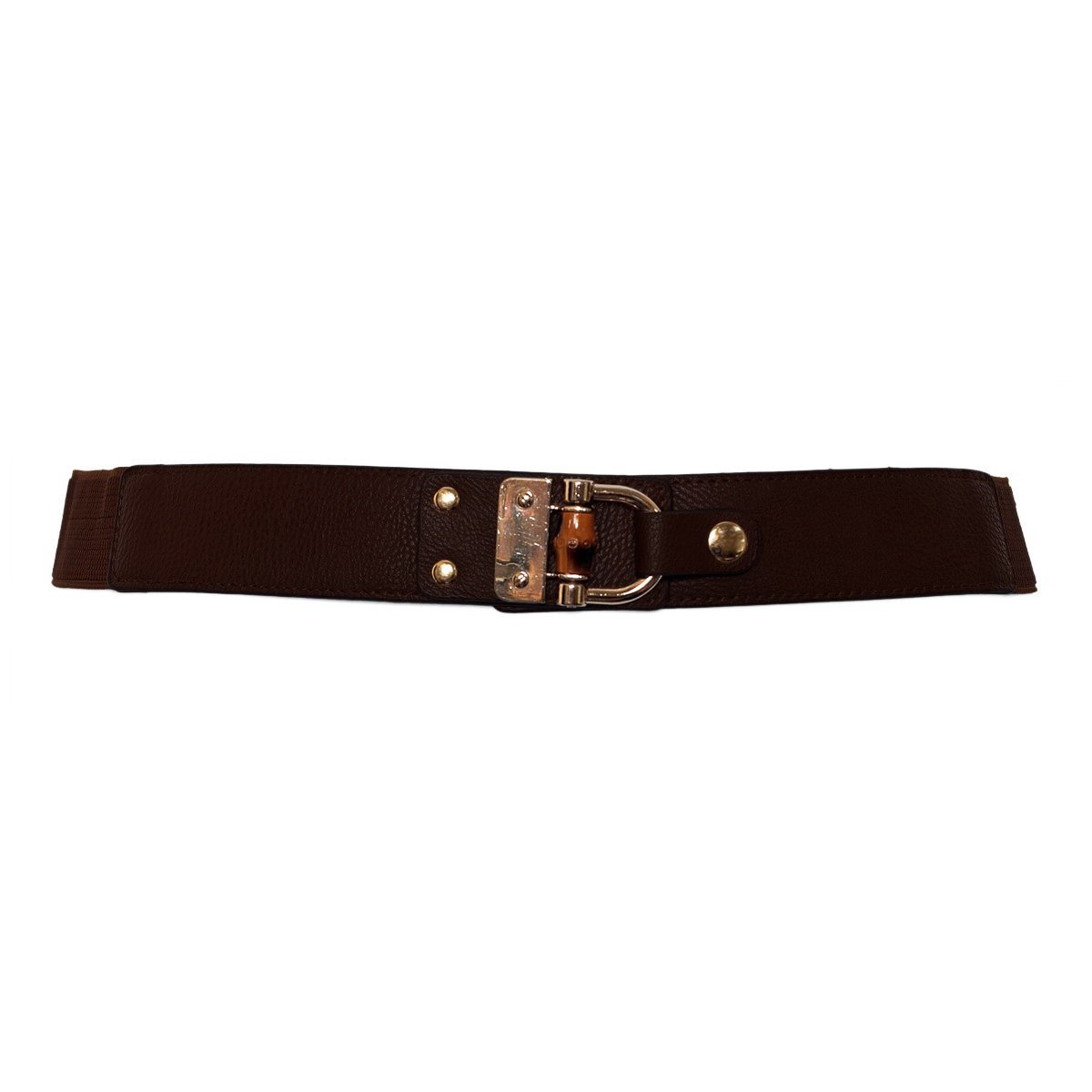 eVogues Plus Size Golden Metal Buckle Skinny Elastic Belt Brown - One Size Plus