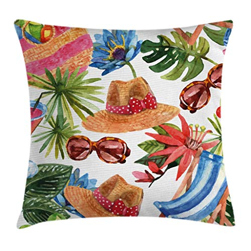 """Ambesonne Watercolor Throw Pillow Cushion Cover, Tropic Summer Holiday Beach Themed Travel Charm Coctails Hats Sunglasses Print, Decorative Square Accent Pillow Case, 20"""" X 20"""", Brown"""