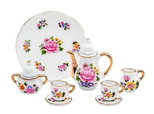 10 Pieces Miniature Porcelain Tea Set with Teapot Cups Plate Saucers Cream & Sugar w/ Lid